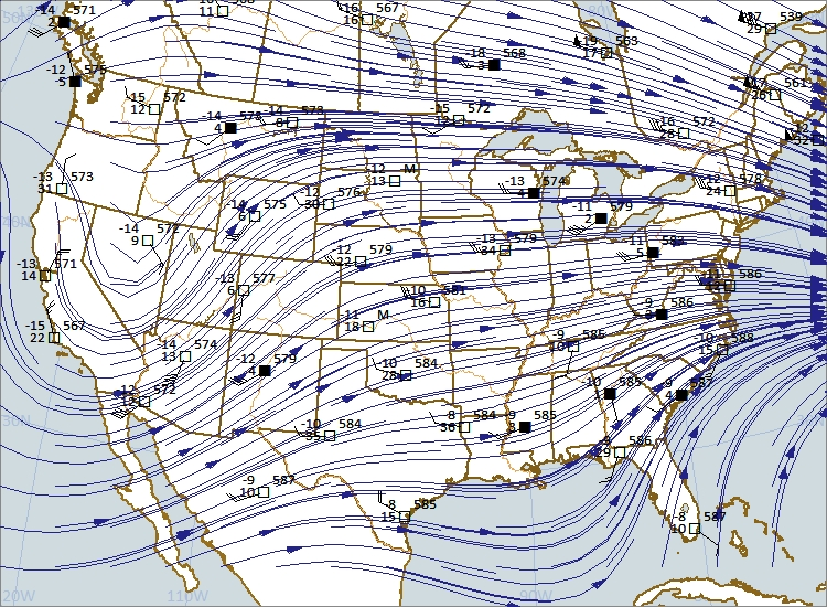 500 mb chart at 00Z 5-22-2018 (7:00 p.m. CDT 5-21-2018). Chart plotted using Digital Atmosphere software from www.weathergraphics.com.