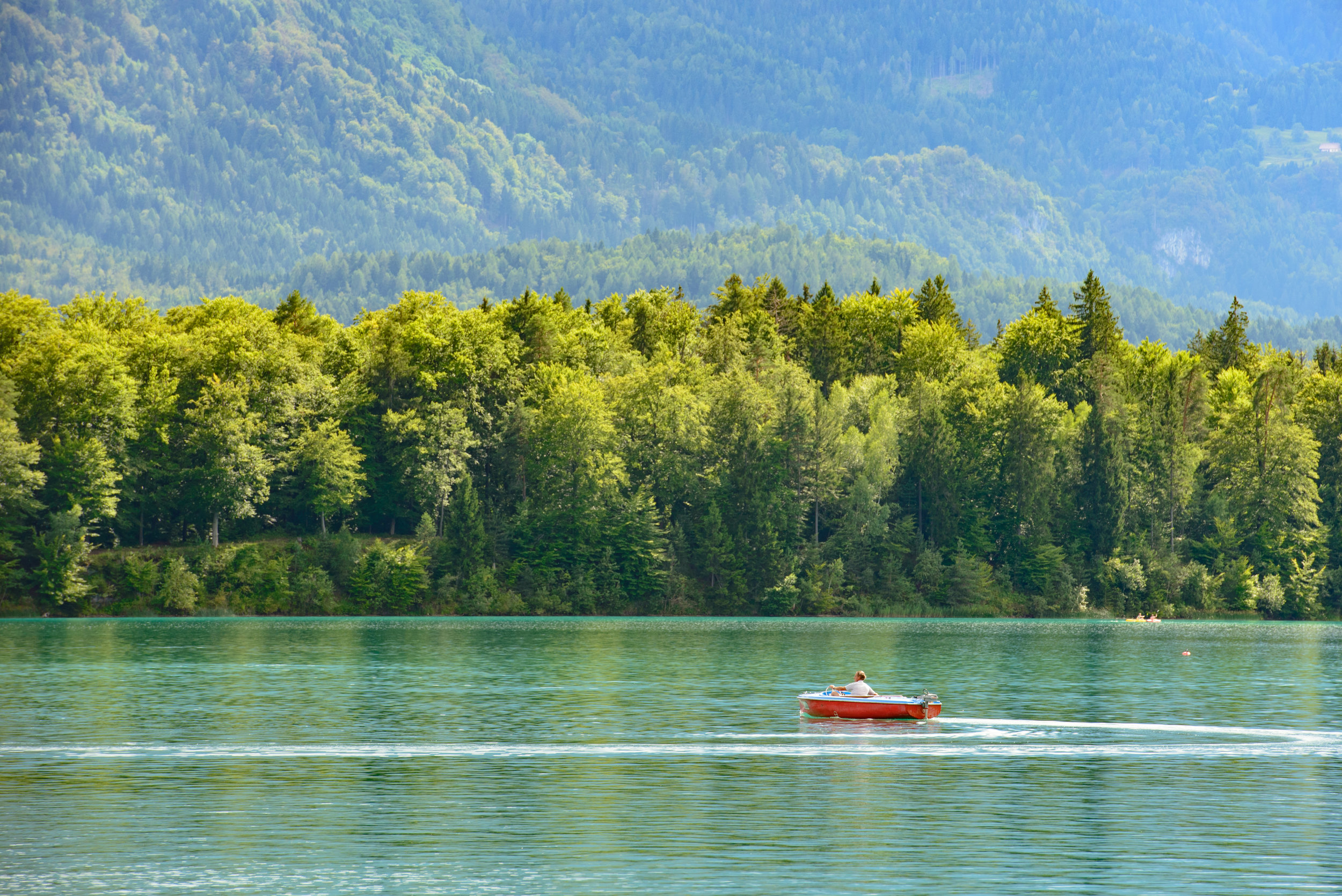 Red Boat on Faak am See, Austria