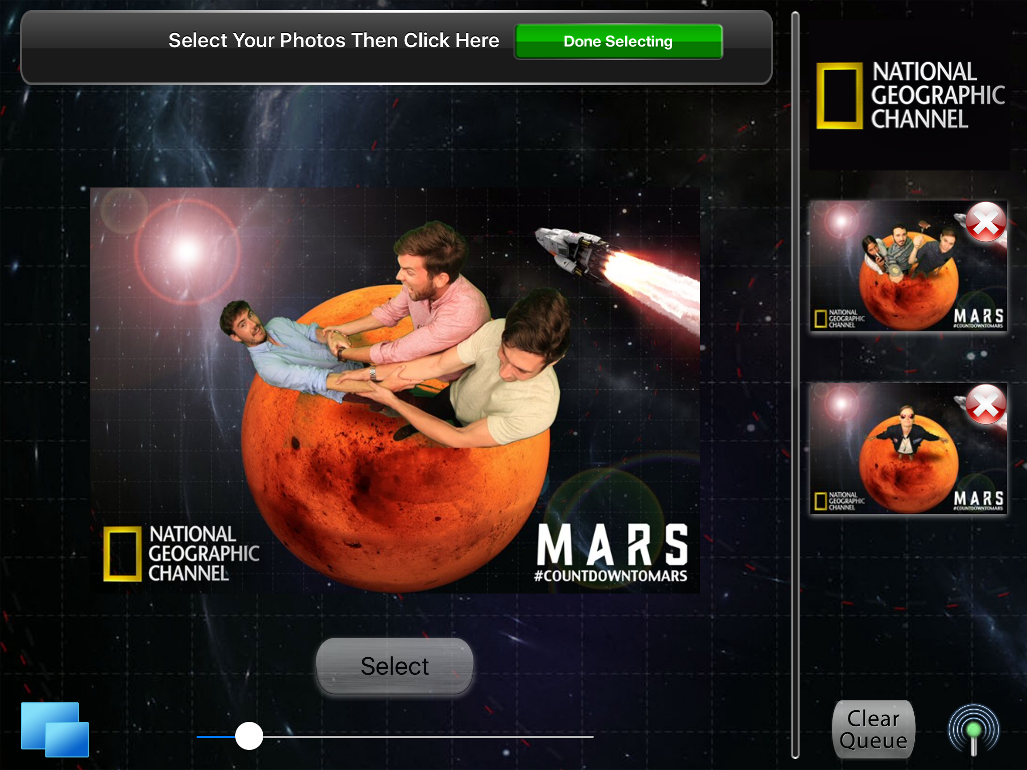 2. Use branding and design elements wherever possible through the sharing iPad stations. Here we replaced our plain black screen with an outer space image.