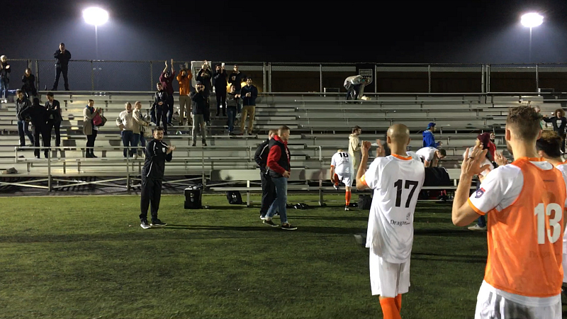 Stockade players applaud KSFC fans that traveled to see the team in Brooklyn.