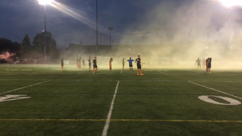The home fans brought out the flares during Friday night's match in Rhode Island.
