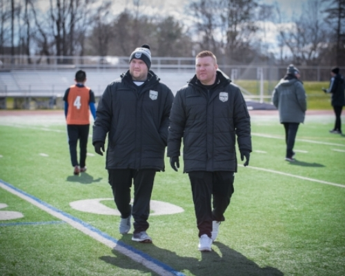 Dan Hoffay (right) overseeing Stockade FC tryouts with Lead Scout, Nick Hoffay (left)