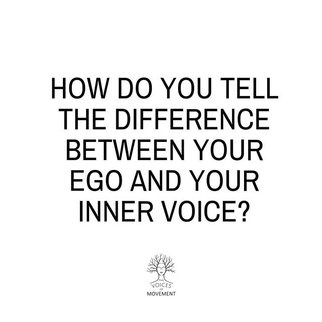 """A few key ways to determining whether it's your ego talking or your inner voice...⠀ ⠀ * Your ego will usually dialogue and go back and forward for example: ⠀ """"I should go to yoga...na - you've worked really hard, stay in bed and rest...but it'll be good for you..."""" Whereas your true voice will usually whisper something direct - """"go to yoga"""" ⠀ * Your ego lives in your head, the energy is mental and often fear based. Your true voice lives in your heart, the energy is loving, compassionate and often peaceful when you follow it.⠀ * Your ego will guide you to staying small & not take risks, keeping you doing things that are planned and logical. Your true voice will often guide you to take a leap of faith and it often has an element of 'unknown' to it."""