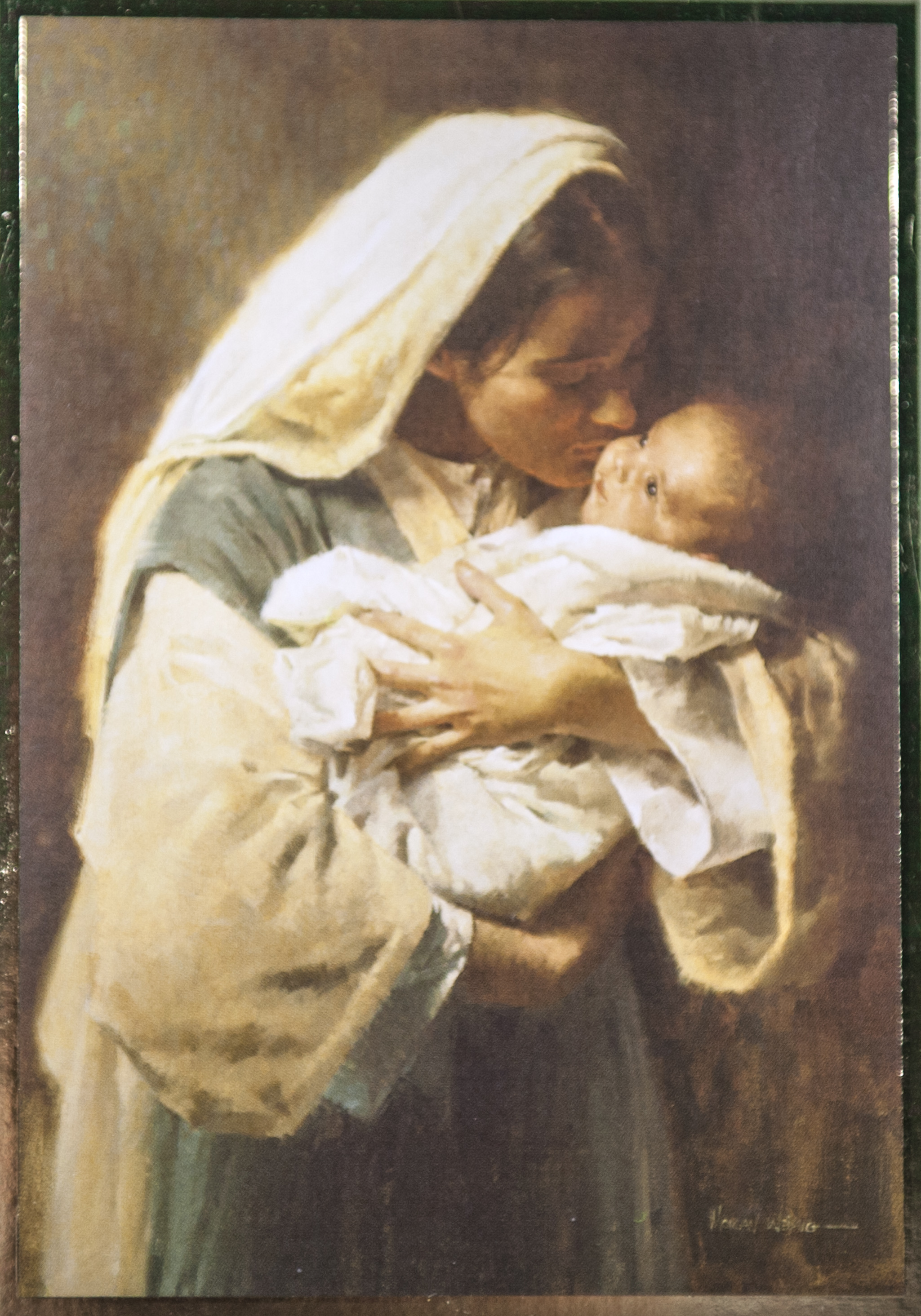 """BABY   Suggested donation: $10.00 Size: 5 x 7   This Mass card celebrates the birth of a baby. Cover features """"Kissing the Face of God."""""""