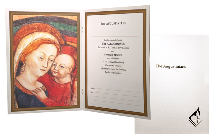 SYMPATHY CARD (DELUXE NON-PADDED)   Suggested donation: $20.00 Size: 9.25 x 7   This sympathy card features Our Mother of Good Counsel. The Augustinian devotion to Mary under this title has its origin in the hill-town church of Genazzano, Italy, where the Augustinians have been located since the 13th Century.