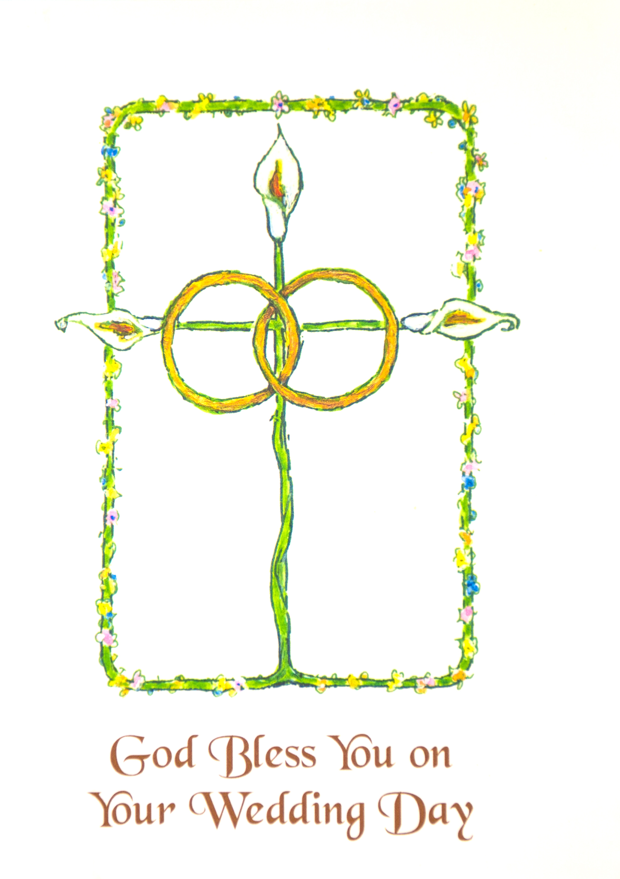 WEDDING   Suggested donation: $10.00 Size: 5 x 7   This Mass card celebrates the sacrament of marriage and includes Augustine's Commentary on the Epistle of John 5.7.2