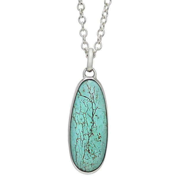 """The Kingman Turquoise Mine in the Acerbate Mountains is one of the oldest and highest producing Turquoise Mines in America. This Necklace features 16.8 cts of Natural Kingman Turquoise bezel set in Sterling Silver on an 18"""" Sterling Silver chain made by @angelinasmithery  25% off using code PATTYSLUCK through Sunday!  #turquoise #blue #green #luck #lucky #silver #style #silversmith #metalwork #necklace #luxury #jewelry #fashion #pendant #handmade #madewithlove #localarts #NativeAngelsJewelry #AngelinaSmithery"""