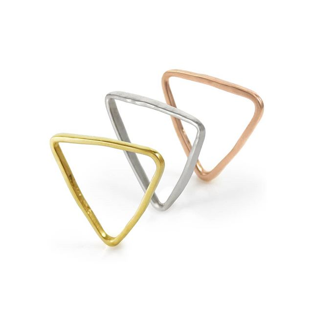 Give the gift of Fortitude, rings in 18k yellow gold, 14k rose gold and Sterling silver. Strength in adversity, the triangle is the strongest shape in nature. . . . Visit www.NativeAngelsJewelry.com & use code MOM2019 for 20% off your order. DM or email NativeAngelsJewelry@gmail.com for custom orders and info. . . . #fortitude #fortitudering #18kgold #14kgold #SterlingSilver #customjewelry #goldsmith #goldjewelry #silverjewelry #rosegoldjewelry #stackingrings #rings #avantgarde #trendsetter #settingtrends #jewelrygram #jewelrygoals #mothersday #madeinla #madeintheusa #downtownla #dowhatyoulove #kristinagracedesigns #nativeangelsjewelry