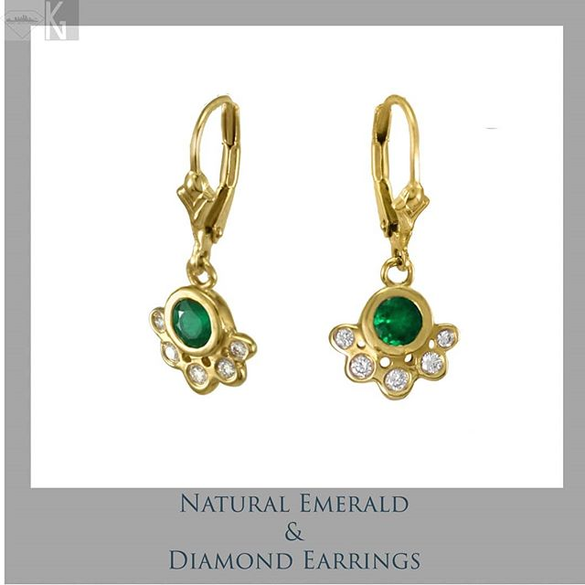 Natural Emerald & Diamond lever-back earrings . Perfect for Mother's day, as they're customizable with any combination of birthstones 🔹🔻🔸Birthstone gift for May Birthdays, great as stud earrings also! Enjoy 20% off your order through Mother's Day with code MOM2019. Support Small Business week & take advantage of 20% off! Visit www.NativeAngelsJewelry.com DM or email NativeAngelsJewelry@gmail.com for info and ordering. 📷 @angelinasmithery . I carved the original in wax, cast, molded and then cast these in 14k gold. I hand finished these then lasered the lever-backs closed. . #customjewelry #irinaearrings #naturalemeralds #emeralds #diamonds #goldearrings #emeraldearrings #diamondsareforever #futureheirlooms #handmade #oneofakind #jewelry #jewelryaddict #instajewelry #boutique #shoplocal #pretty #gemstones #golden #shopsmall #madeinla #madeintheusa #downtownla #dowhatyoulove #kristinagracedesigns #nativeangelsjewelry