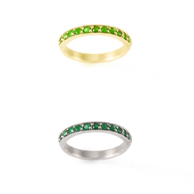 Fancy Semi-eternity Ring features Natural emeralds, in 14k gold/rose gold and white gold. Customize yours today with your choice of gem stones. Visit www.NativeAngelsJewelry.com 💚💎💚 DM or email NativeAngelsJewelry@gmail.com for info and ordering. 📷@angelinasmithery . . . #customjewelry #goldsmith #goldjewelry #goldring #stackingrings #14kgold #emeralds #naturalemeralds #gems #gemstones #golden #whitegold #whiterhodium #diamonds #goldrings #showmeyourrings #madeinla #madeintheusa #downtownla #dowhatyoulove #kristinagracedesigns #nativeangelsjewelry