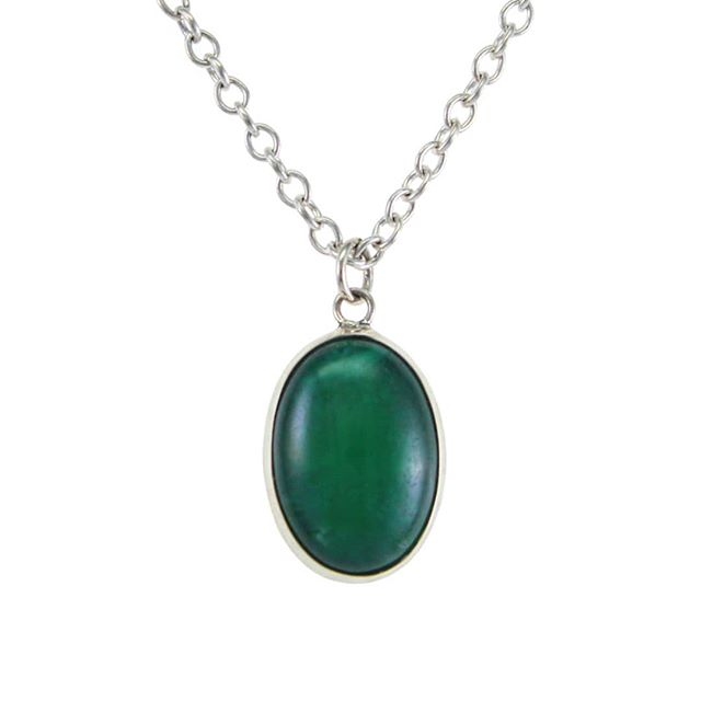 "This necklace features Malaysian Jade, with it's fantastic, saturated color, bezel set in Sterling Silver on an 18"" Sterling Silver chain.  On sale in our shop now!  #jade #luck #malaysianjade #necklace #silver #pendant #metalwork #metalsmith #jewelry #NativeAngelsJewelry #AngelinaSmithery"
