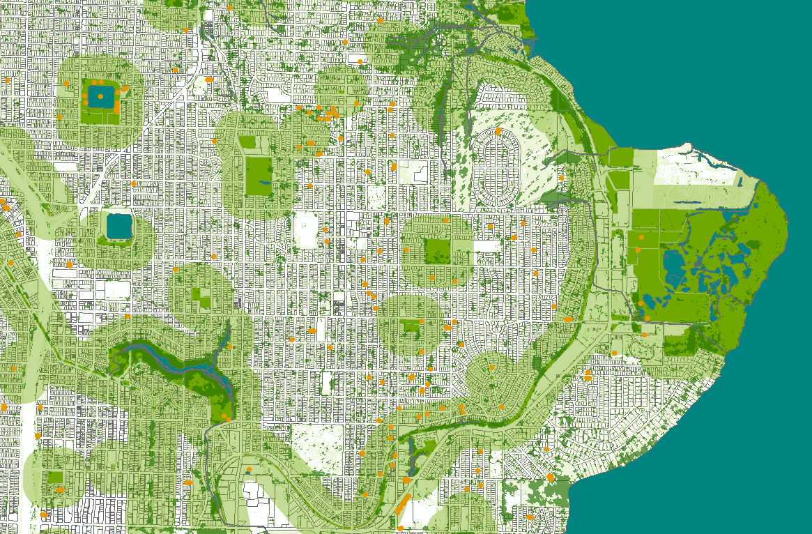 One view of greenspace in Seattle, with Magnuson Park in the upper right.