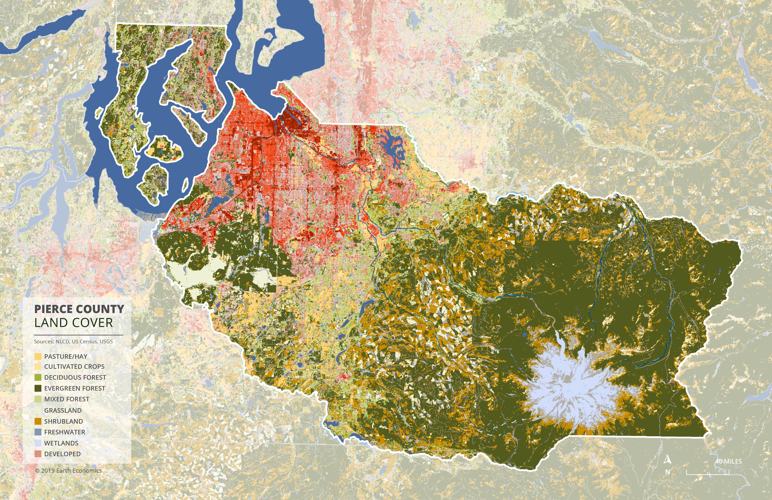 Map: Land Cover Type, Pierce County  Click to Enlarge