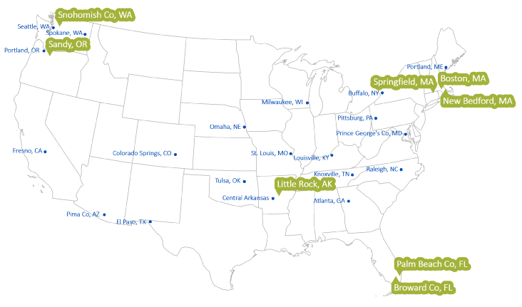 Communities: Getting Green to Scale Green: Urban GI Labs, Blue: Blueprint Interview Communities  Click to Enlarge
