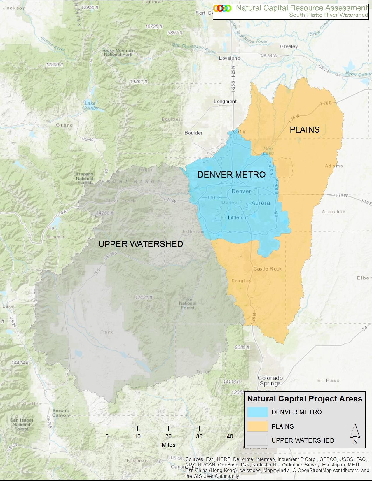 Project Areas of the South Platte Natural Capital Resource Assessment  Click to Enlarge