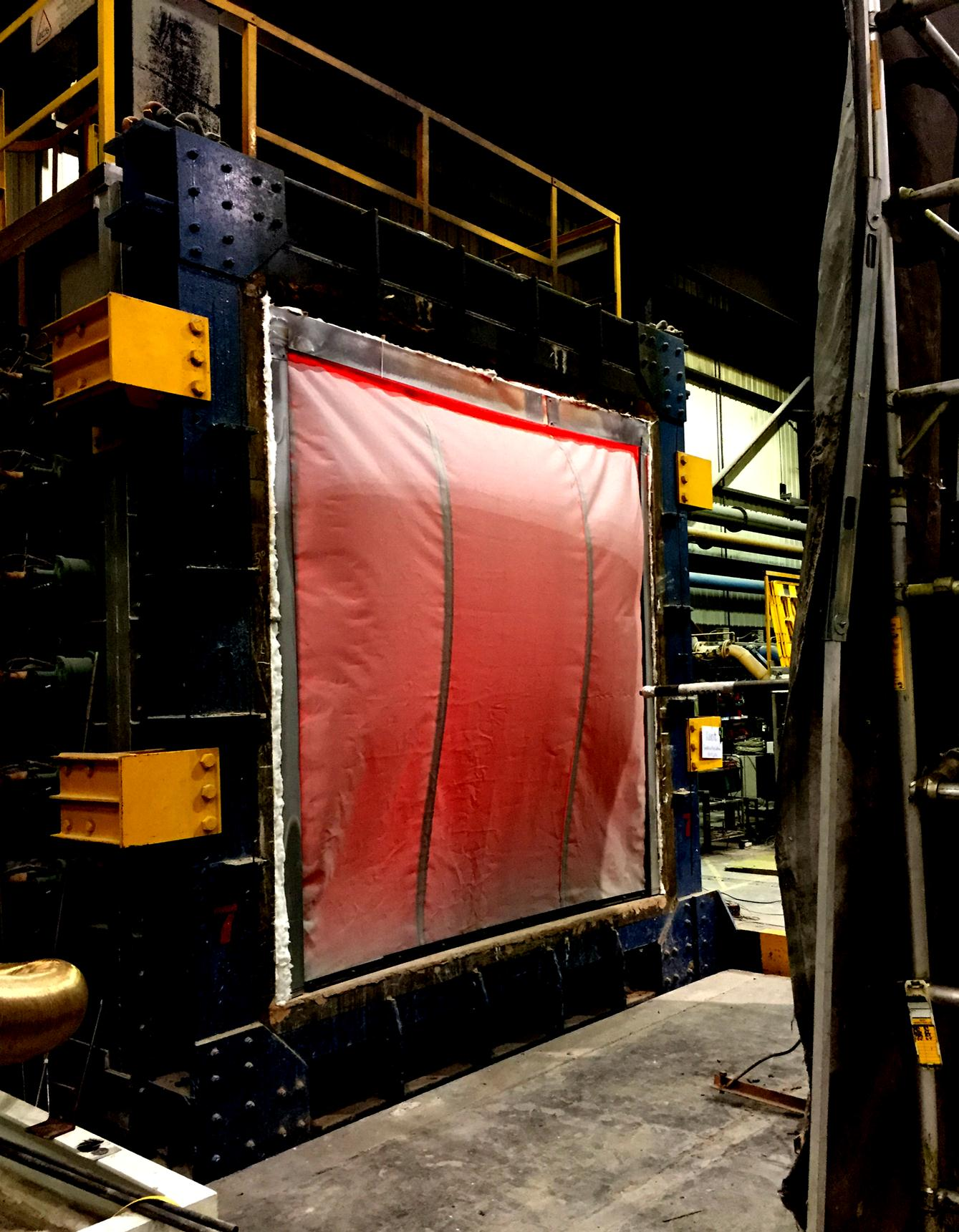Kent Fire Curtain undergoing testing to BS EN 1634-1