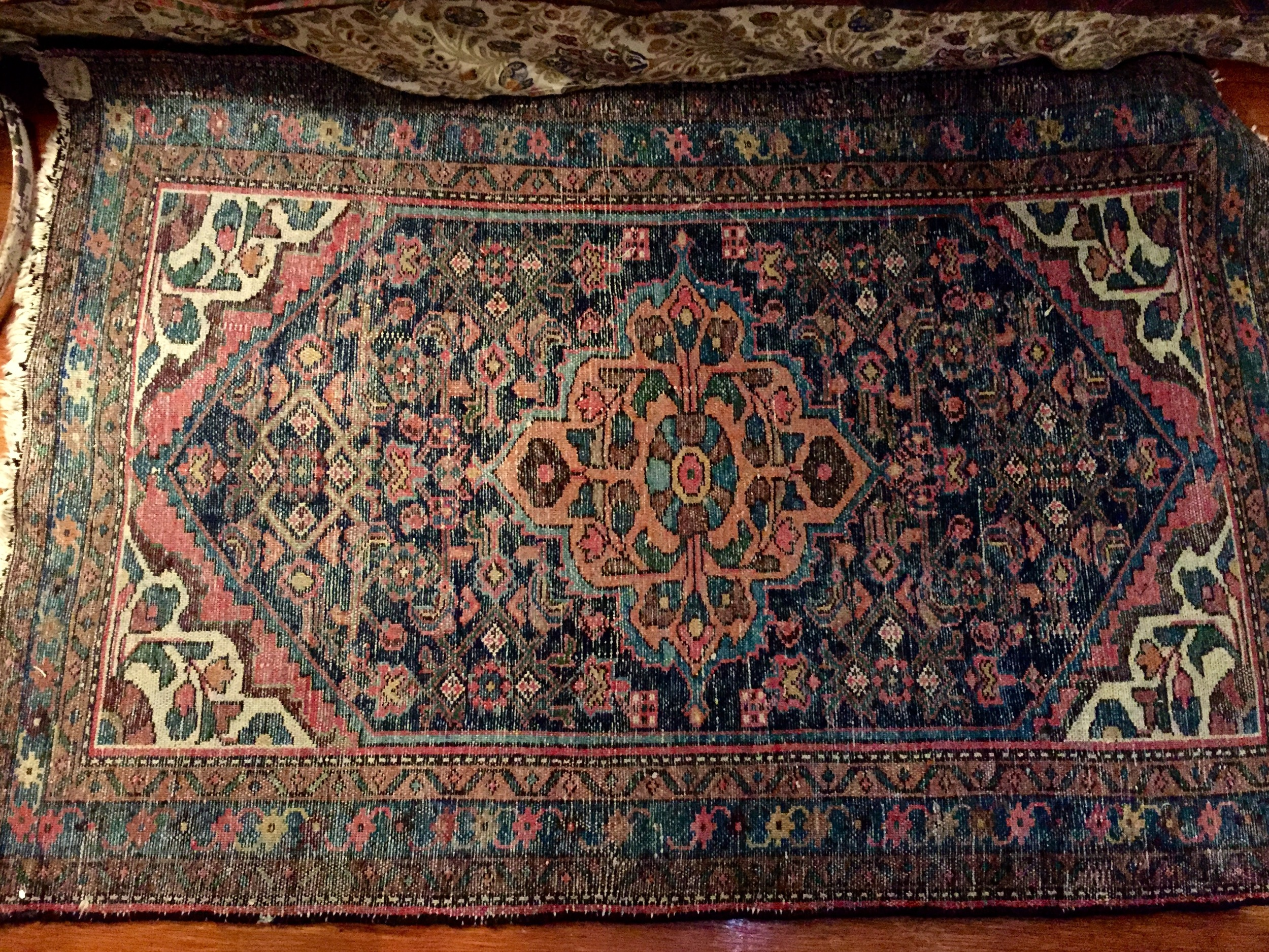 Back sideof hand-knotted rug.