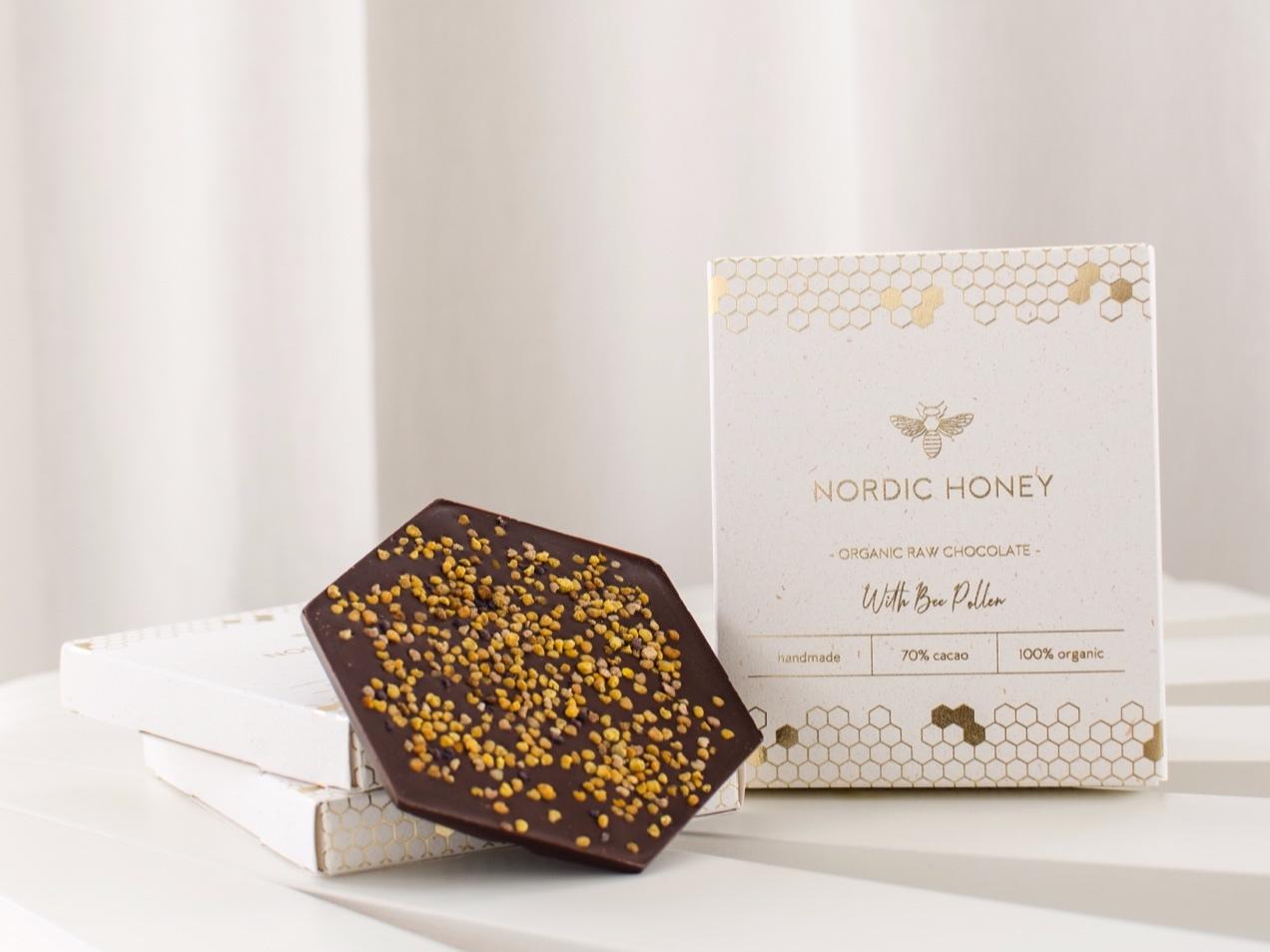 Nordic Honey_mahešokolaad_ 70% tume tooršokolaad õietolmuga_firmakingitused jõuludeks_kingiideed jõuludeks