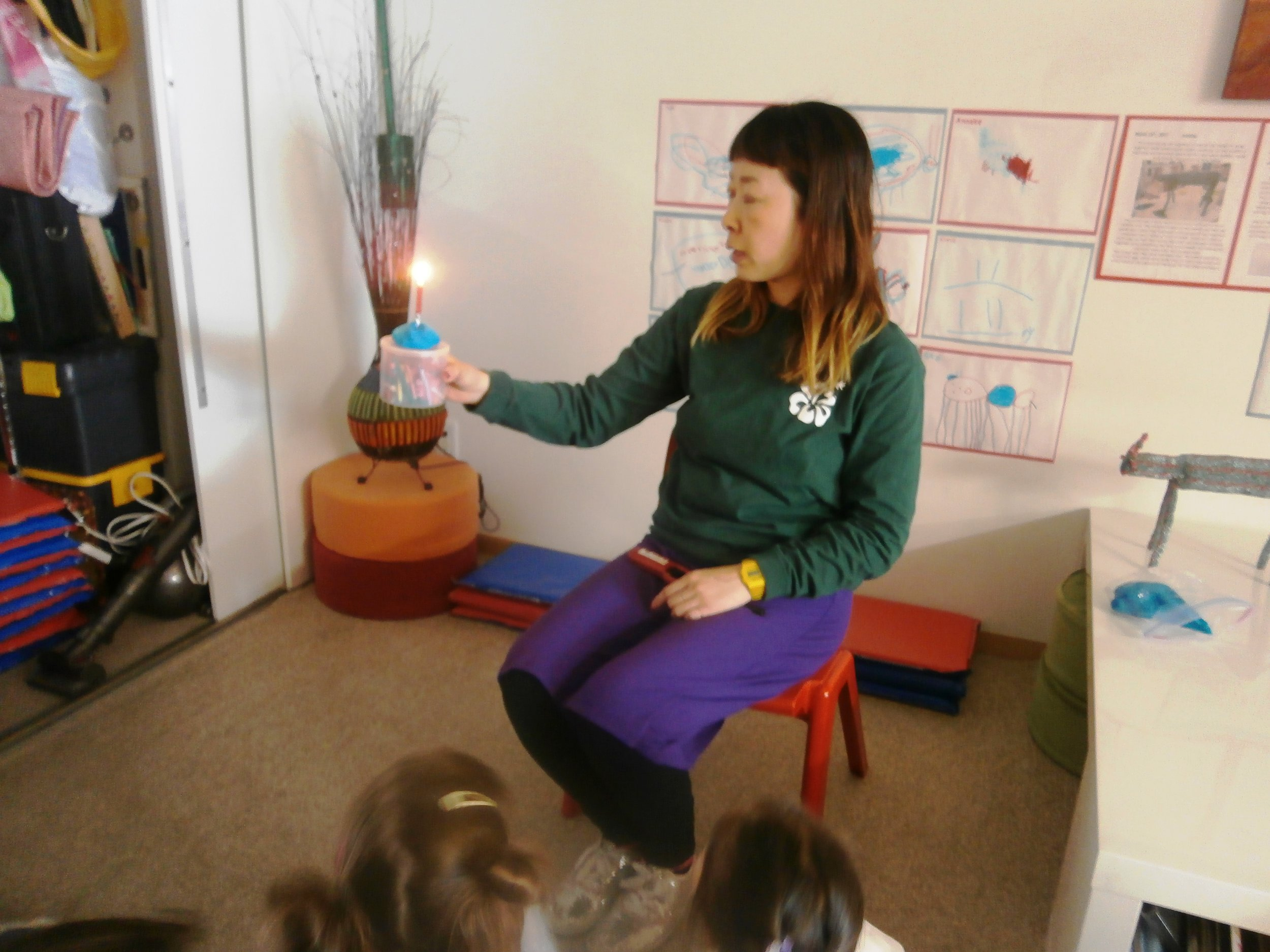 """Focus on the candlelight."" Hisami urged us during our meditation session with her."