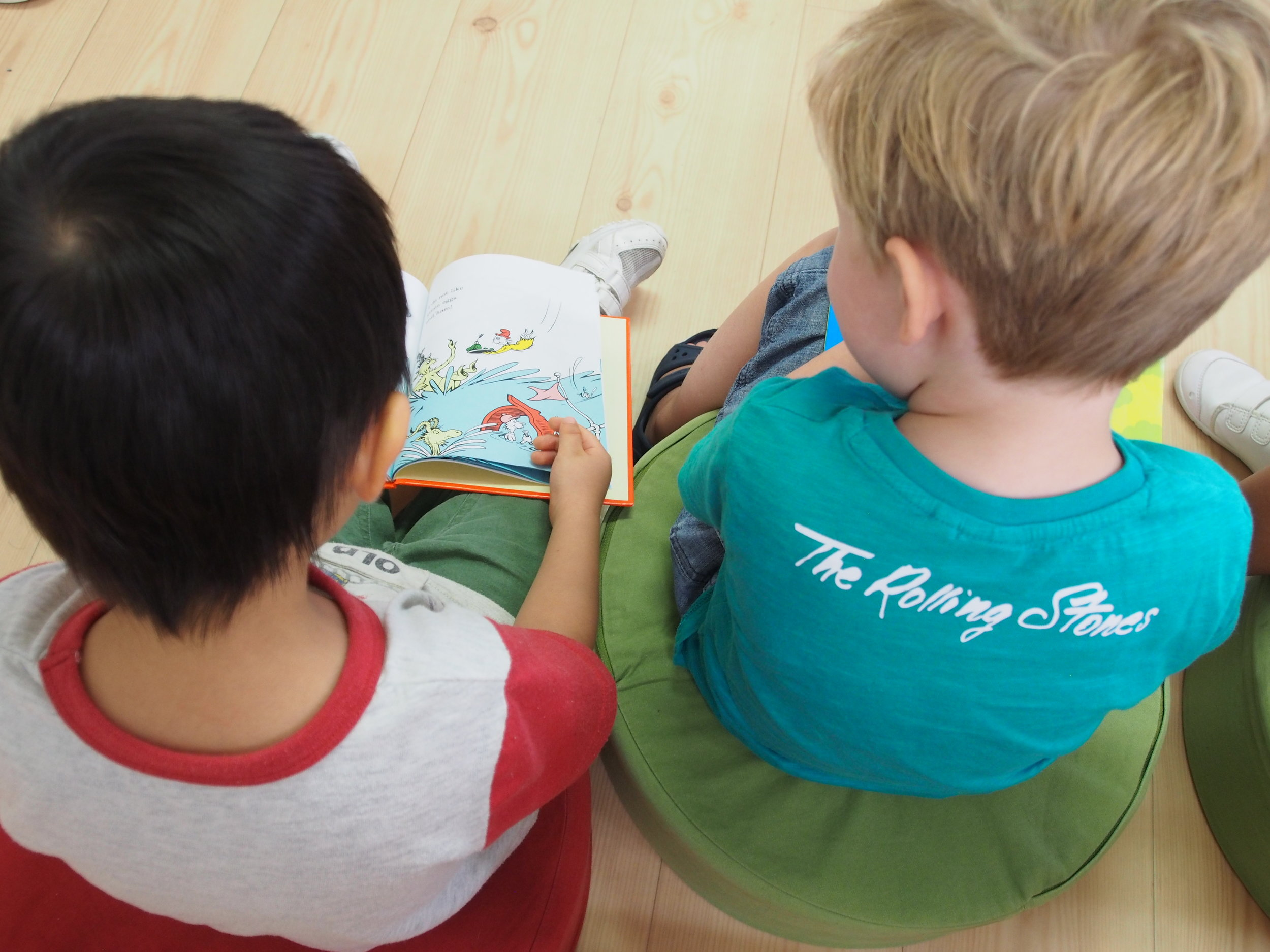Reading together during the morning