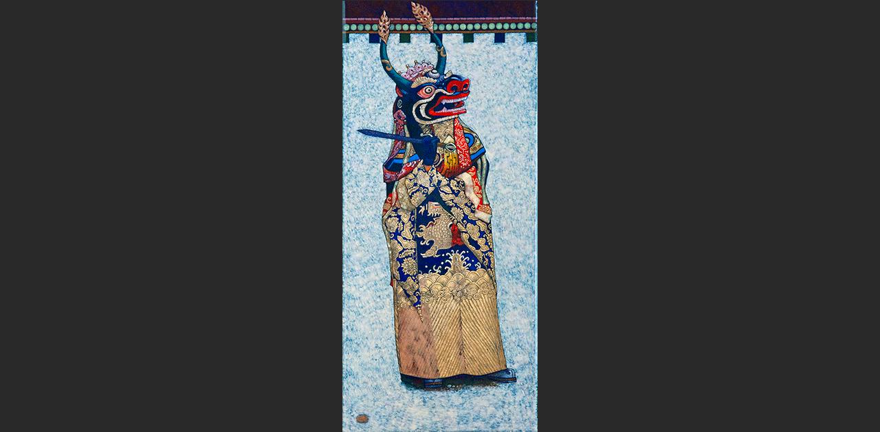 Tibeti maszkos táncos (19x44 cm)