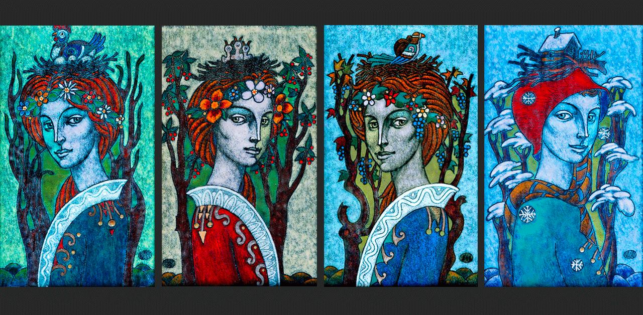 "The Four Seasons: Spring, Summer, Winter, Autumn (61"" x 11.4"" per pieces"