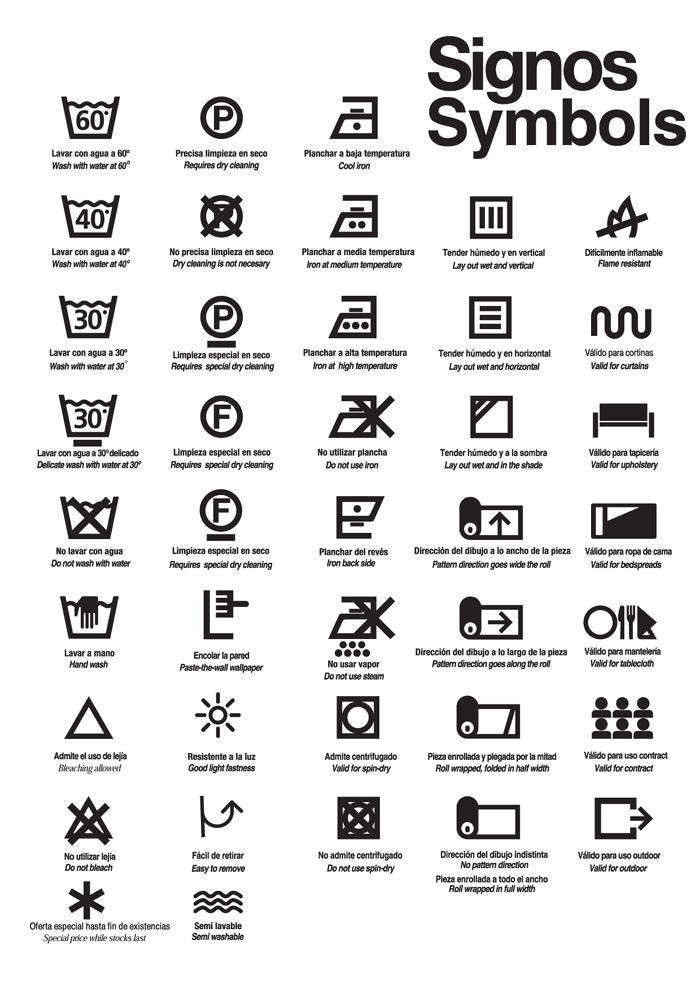 símbolos e instrucciones de lavado