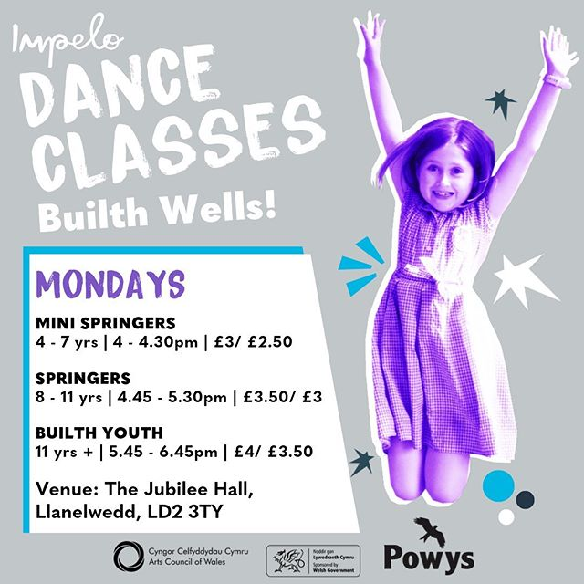 HEDDIW / TODAY! ✨ . . Dance Classes in Builth Wells for ages 4-18 years! Drop in and join us for a dance, from 4pm tonight! #dance #danceinpowys #builthwells #dancepower #mondaymotivation