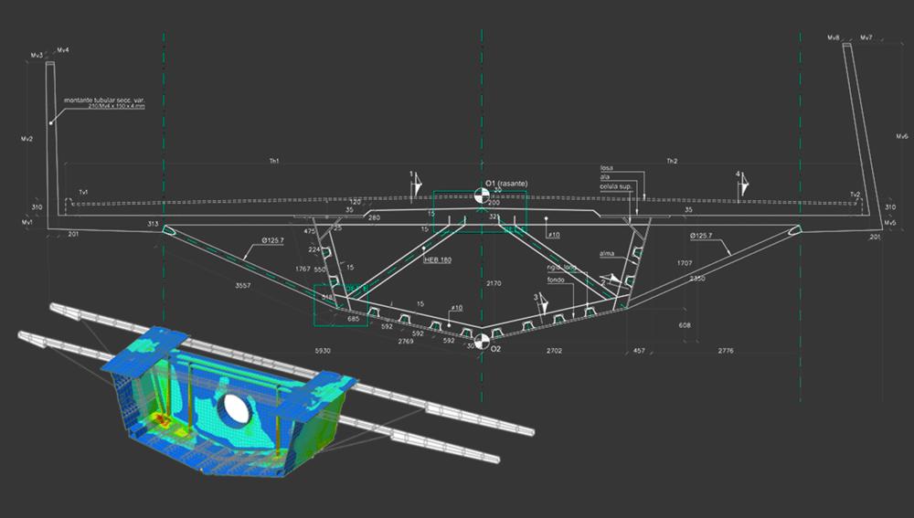 Diseño de puentes mixtos .  Análisis de E.F.del diafragma del puente sobre la pila.
