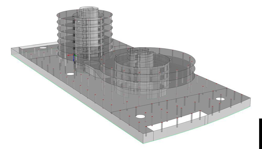 Modelo de E.F. del edificio   ZAL en Algeciras  . Elementos superficie usados para muros y forjados.
