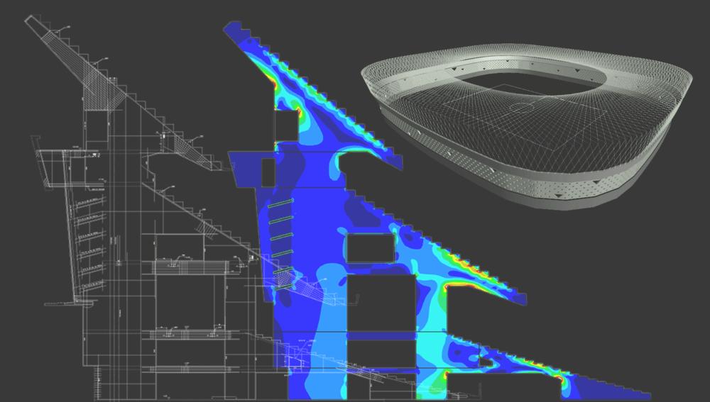 Modelo de E.F. del pórtico principal de hormigón postensado del estadio del      Real Betis  .