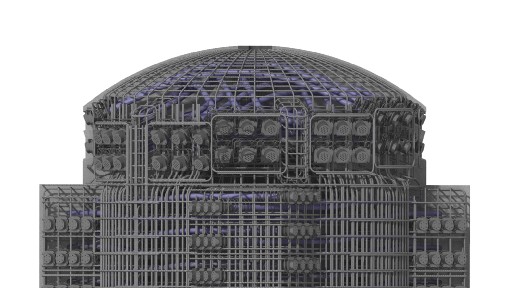 3D Render of the Active and Passive Reinforcement Layout for a Steam Accumulator.