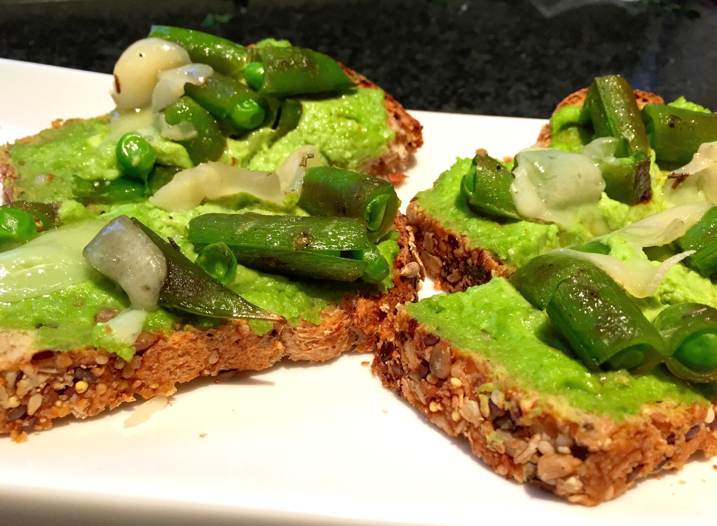 Double pea bruschetta with cheese