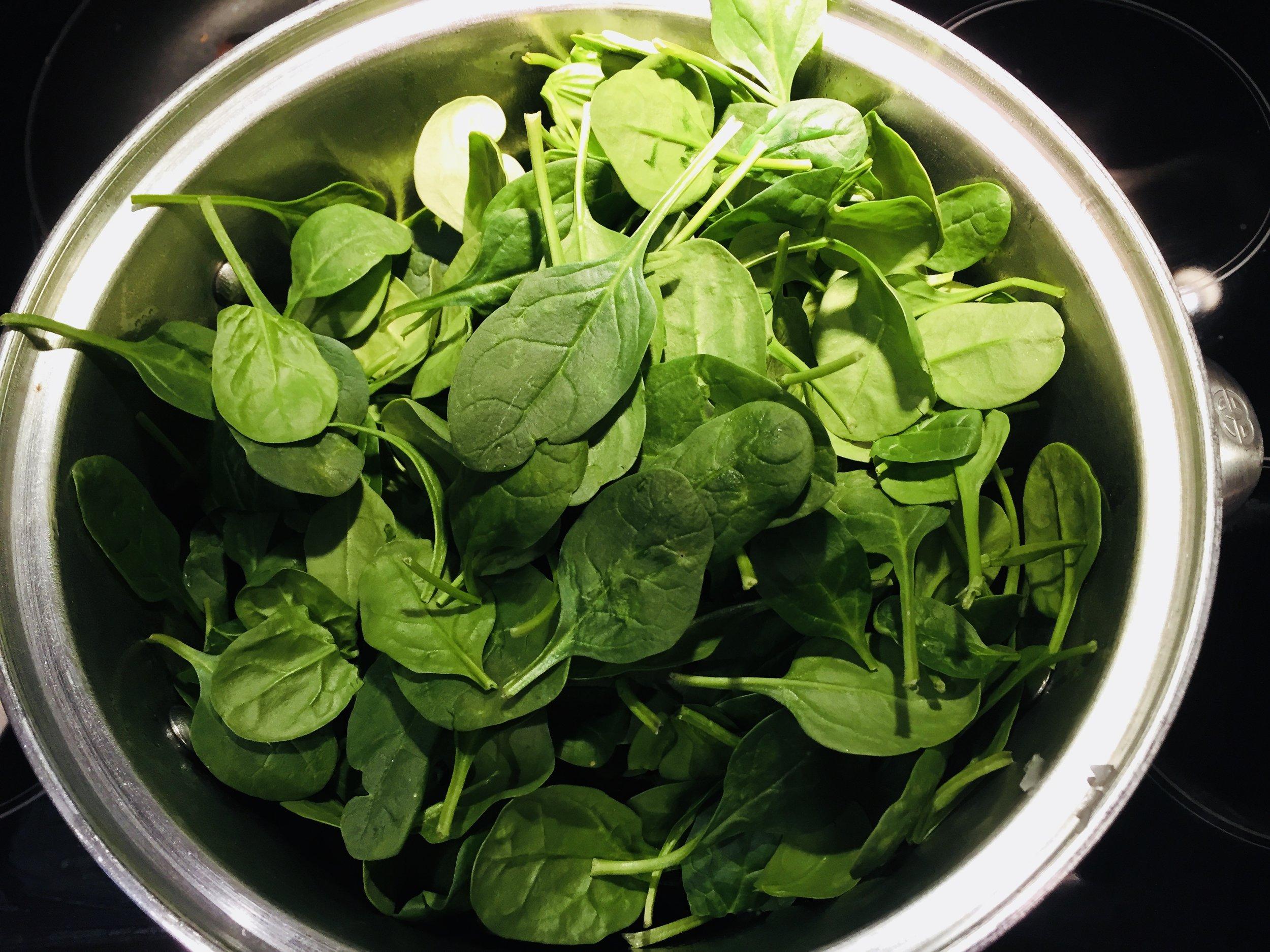 Wilt baby spinach, do not overcook!