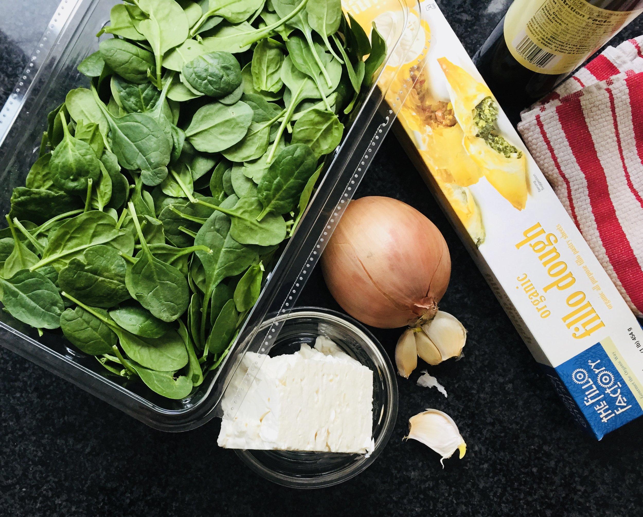 Spinach, onion, filo, garlic, olive oil and feta