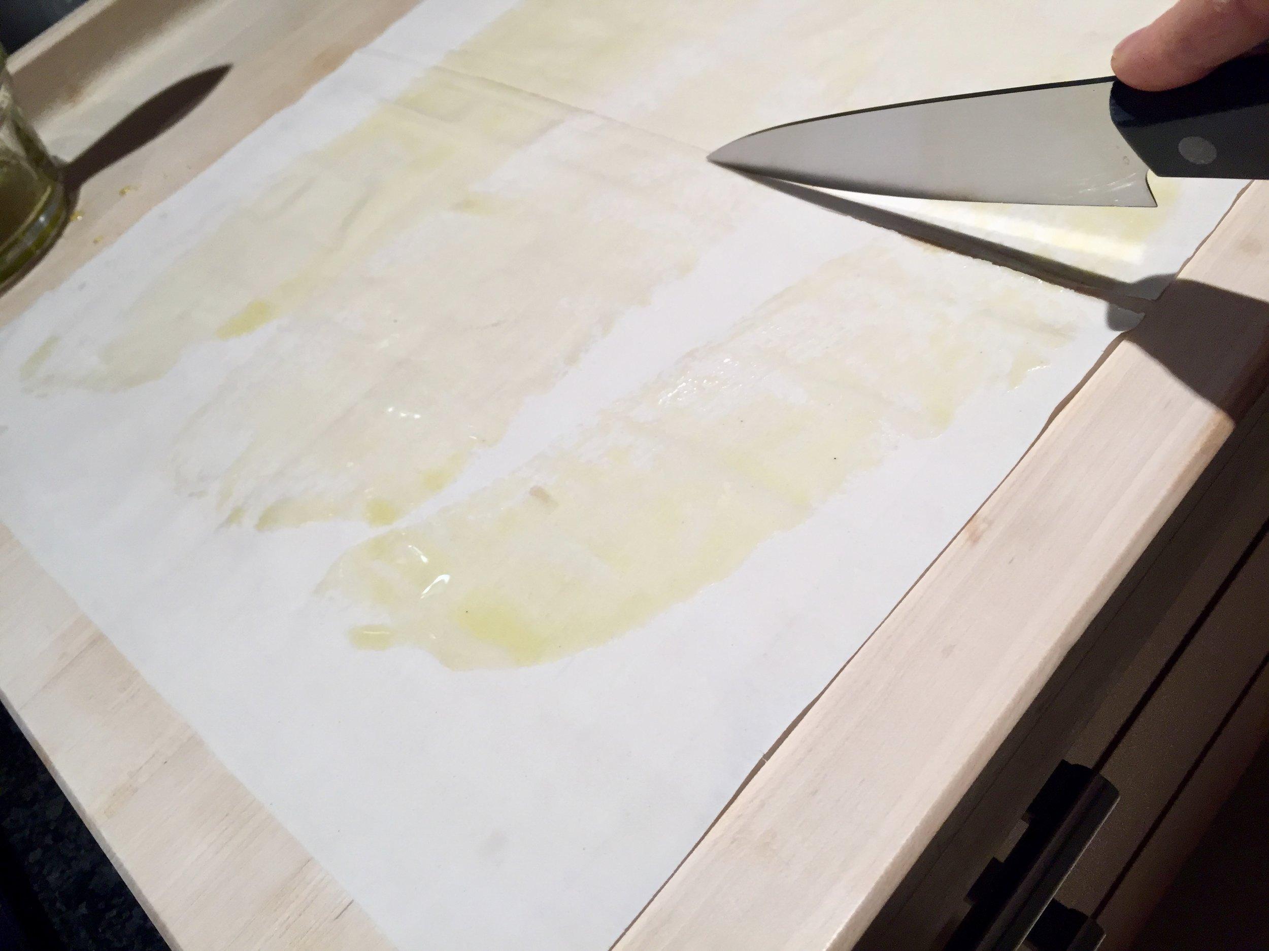 Cut filo sheet into two