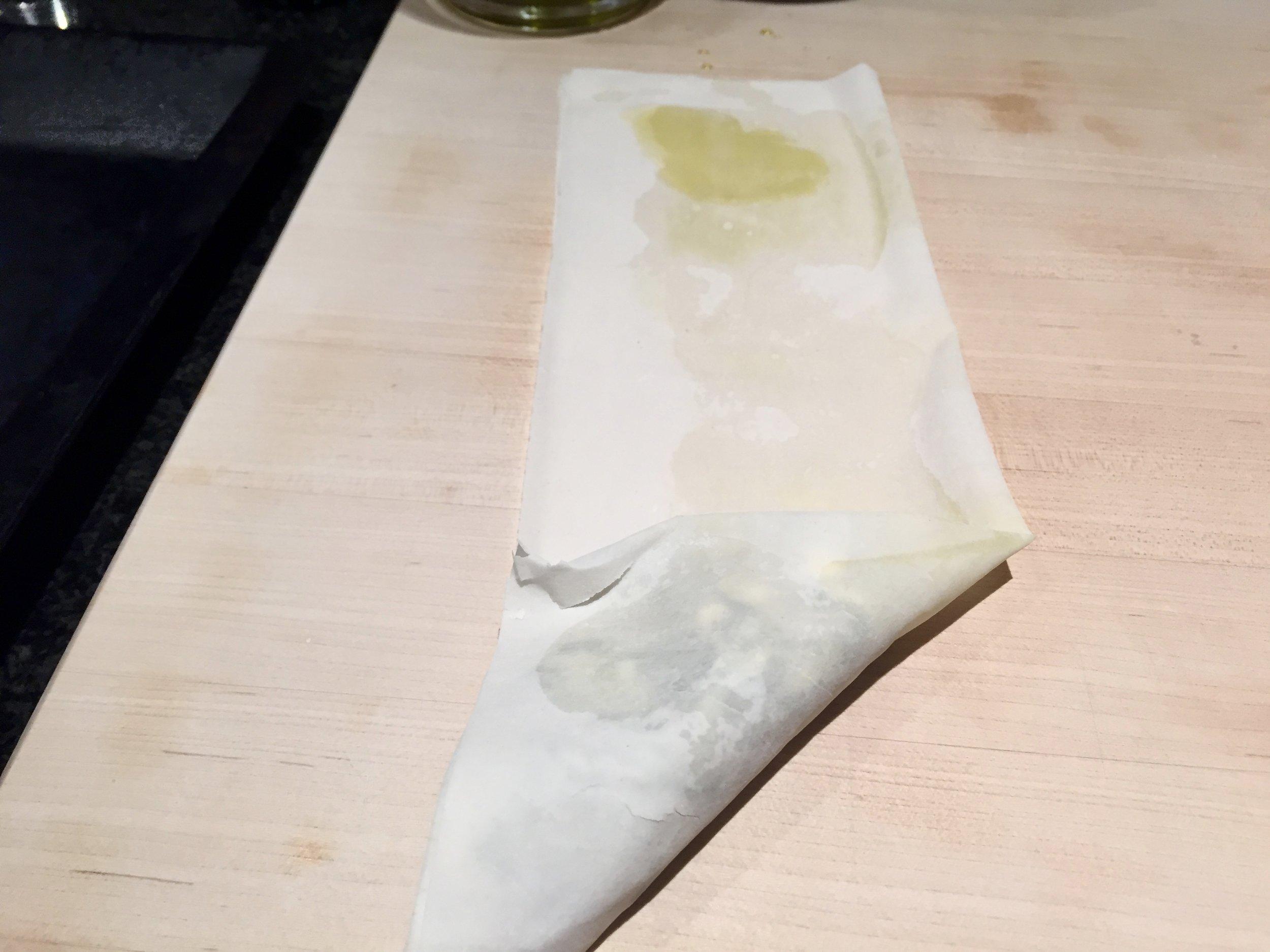 Fold filo into a triangle