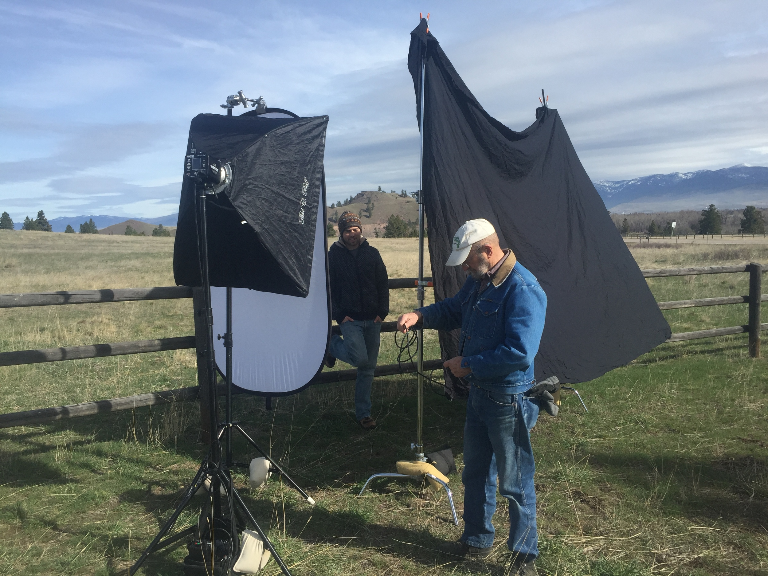 Behind the scenes of a lighting setup for one of the key images of the day. There was just a slight breeze, but even with sandbagged stands it was scary at times hoping that nothing would blow over.