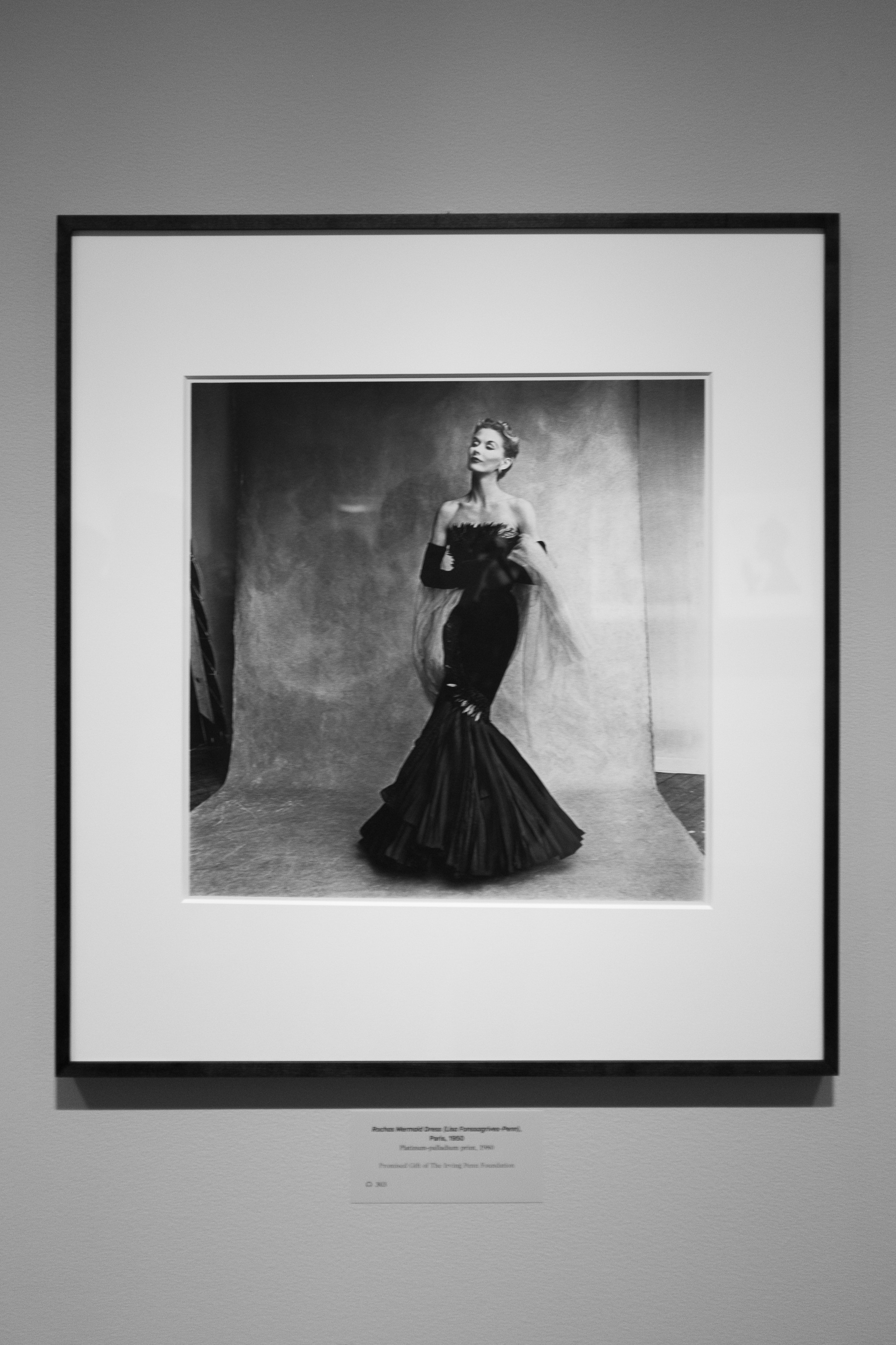 One of the most prolific fashion models of the day and Irving Penn's wife Lisa Fonssagrives-Penn, photographed against the very backdrop on display at the exhibit.