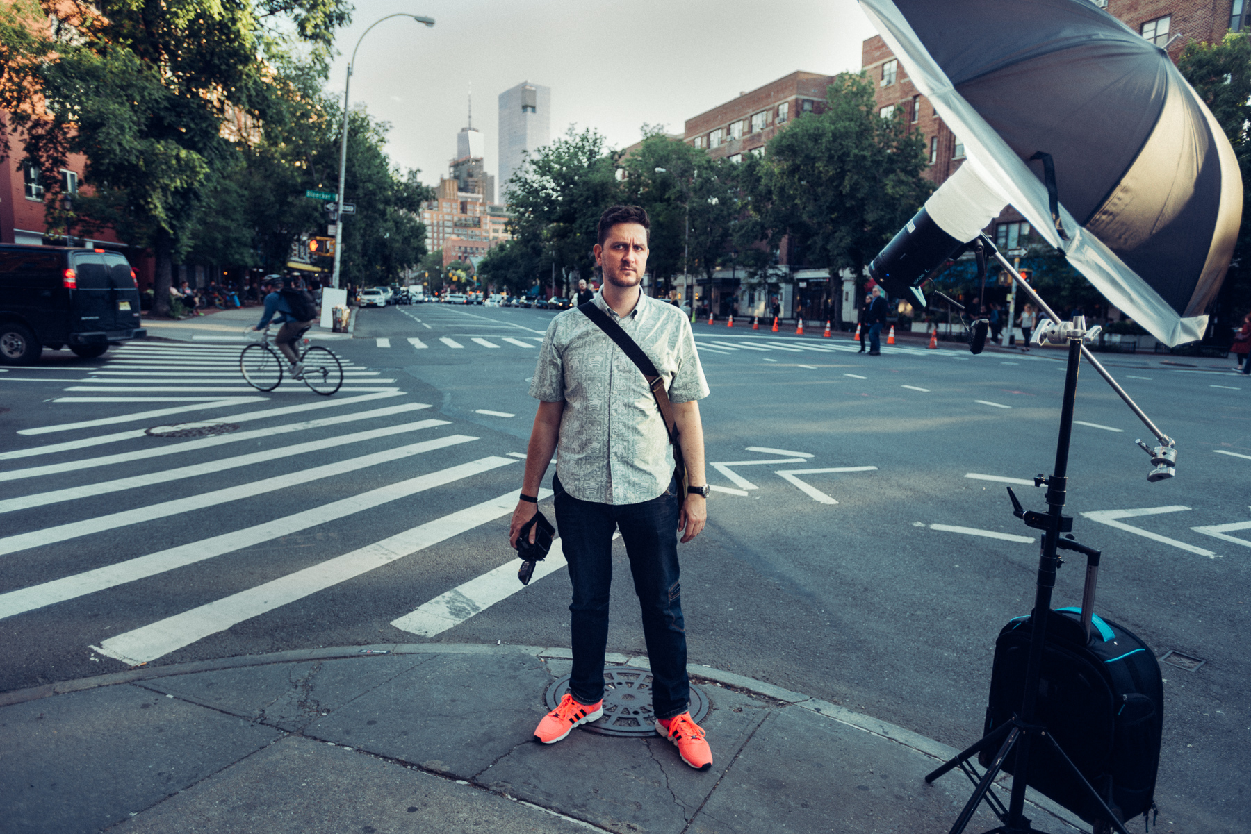 Jason standing in for a lighting test on 6th Ave. I wanted to keep the setup lightweight and portable, so we shot with a single Broncolr Siros L light with a Photek softlighter, boomed out on an arm to get the stand out of the way for wider shots. The power of the strobe was kept pretty low to assist and accentuate the natural light of the scene, not overpower it. The Siros L is battery powered, so that meant no power cables, external battery packs, or generators, but the light is still powerful for nearly any outdoor situation, and also has a couple of nifty features like High Speed Sync to allow for flash synchronization at any shutter speed - useful for shooting at wide apertures in bright light where 1/250s is not possible.