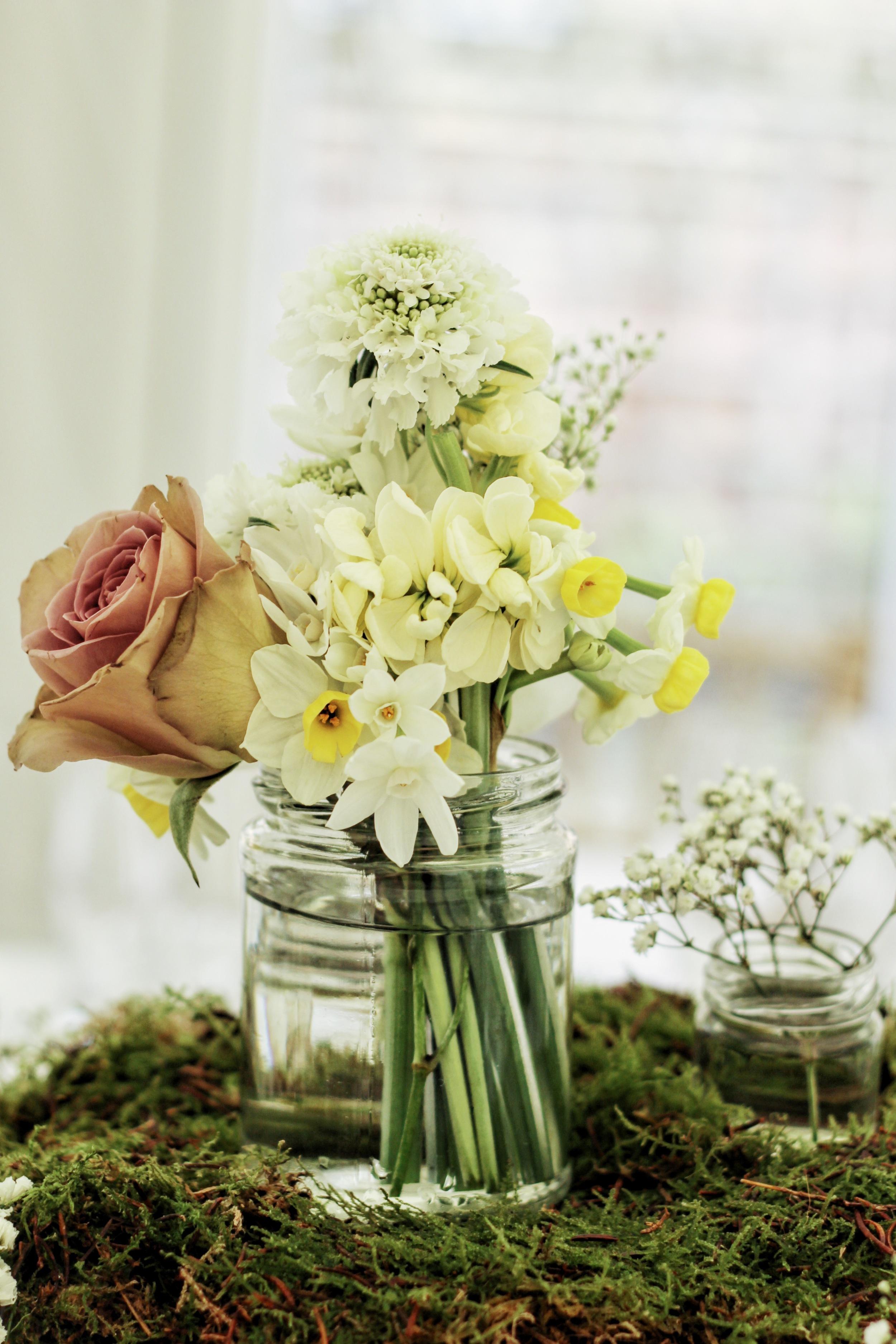 jam jar flowers by Jennifer Pinder on a moss boss for a spring wedding.JPG