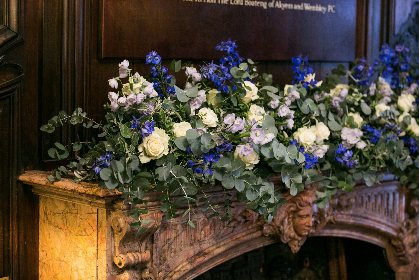kent florist Jennifer Pinder London wedding in Dartmouth house spring flowers in blue and white 1.png
