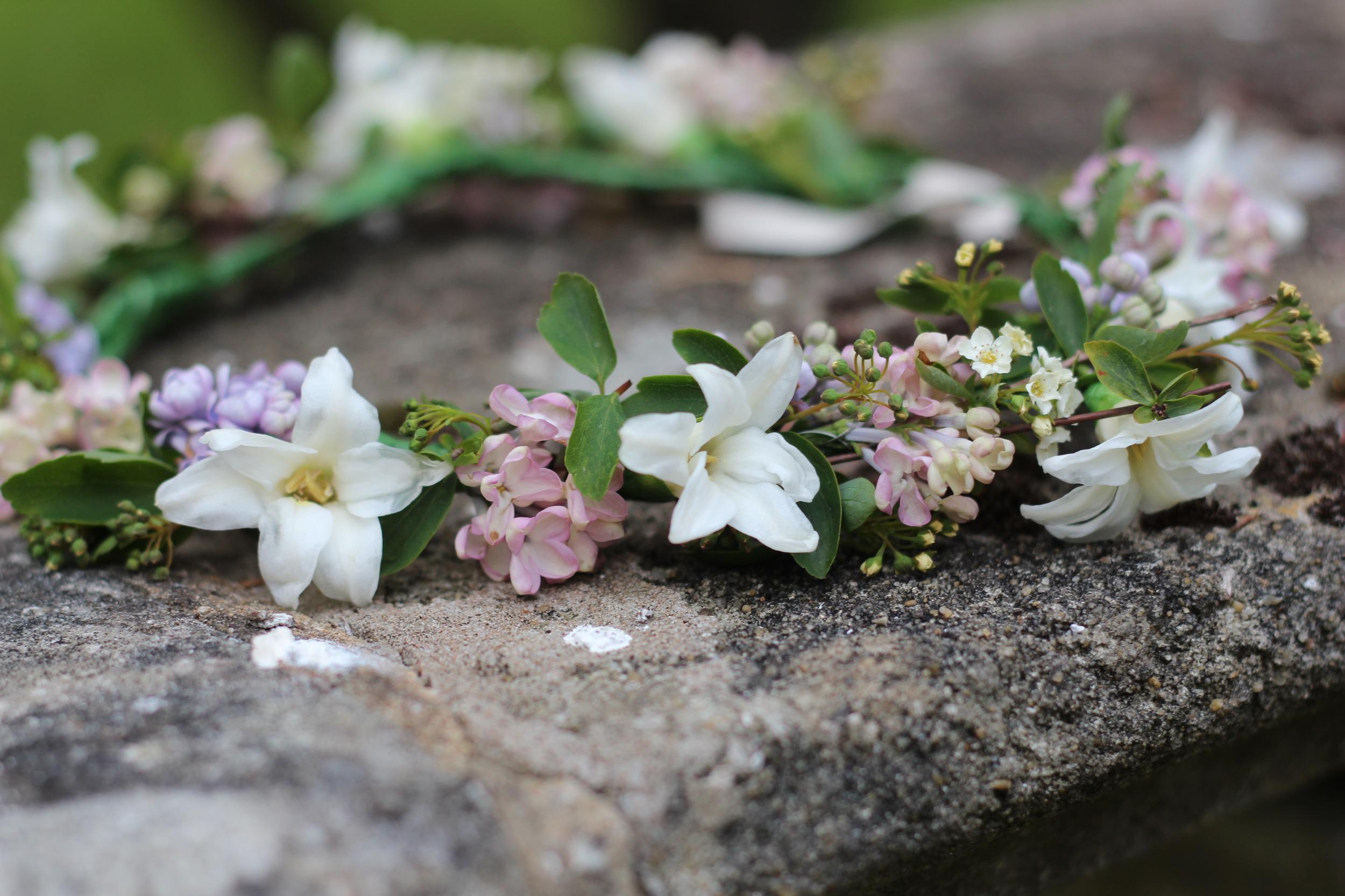 Kent florist Jennifer Pinder makes a blush pink and white flower crown using British grown flowers