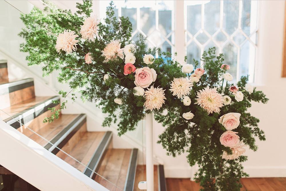 kent florist flowers by Jennifer Pinder white and blush pink bouquet and wild staircase flowers arrangement