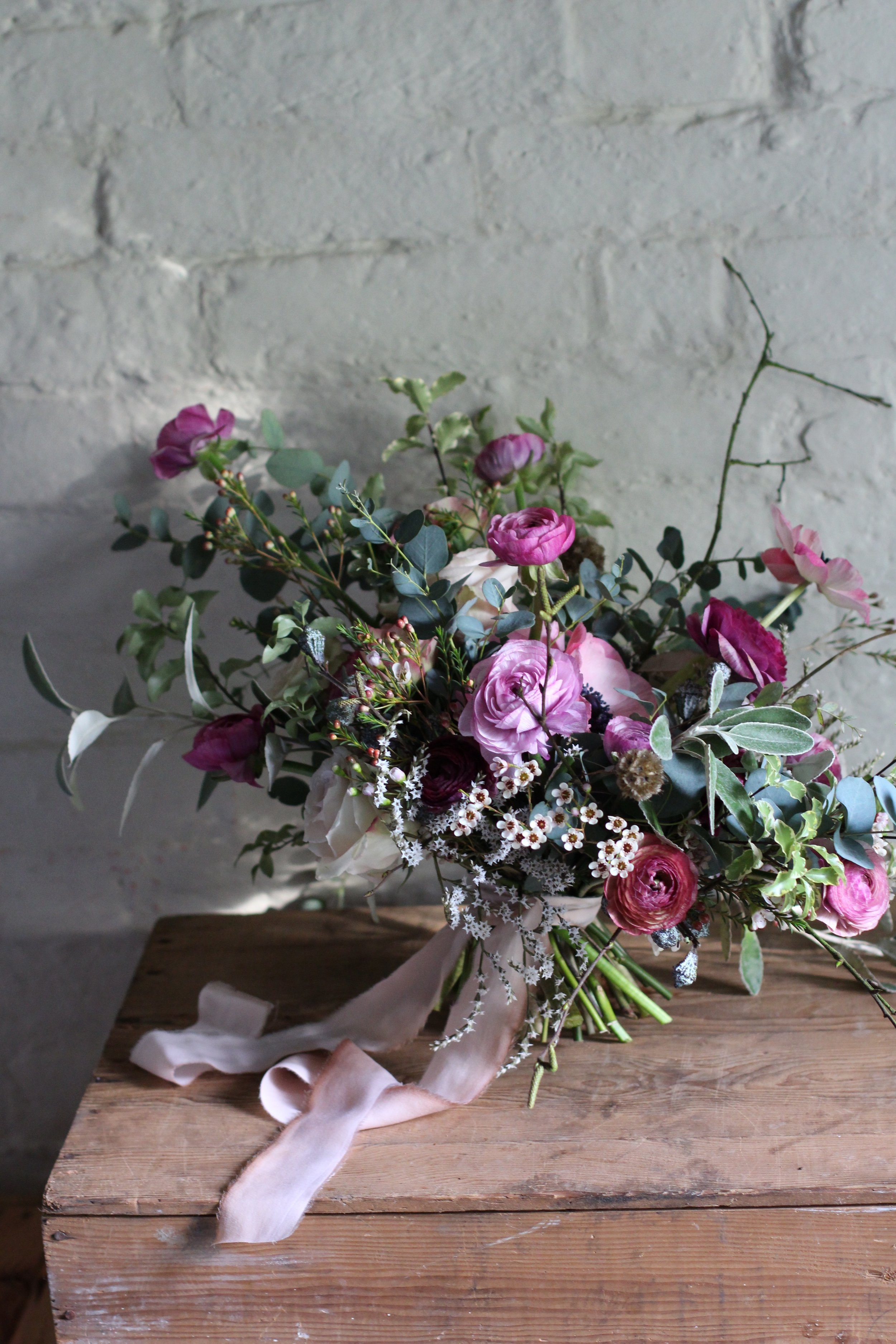 Amber's bouquet at Jennifer Pinder floral florist workshop In Kent