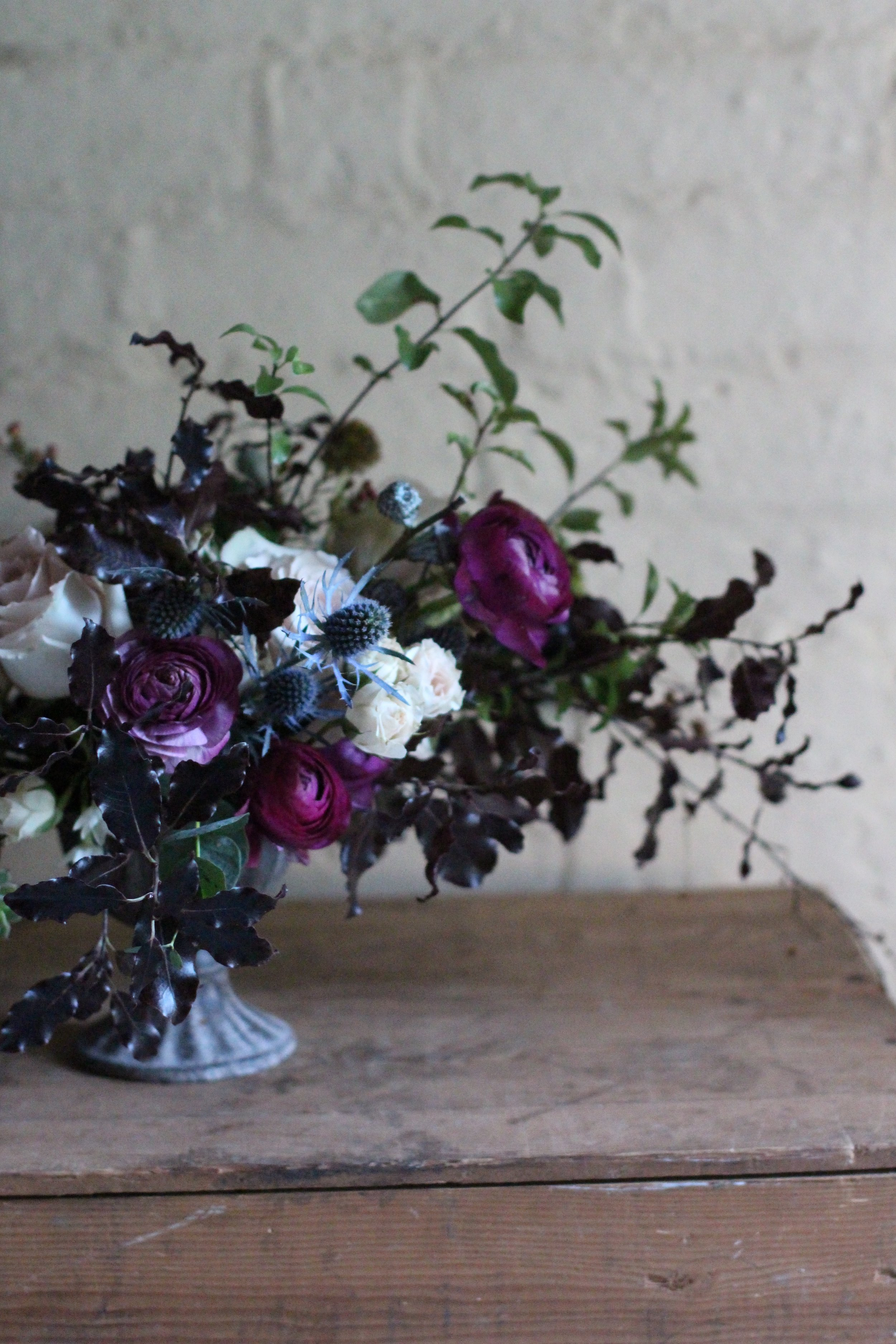 Pei's table arrangement at the Jennifer Pinder Floristry lesson floral workshop based in Kent