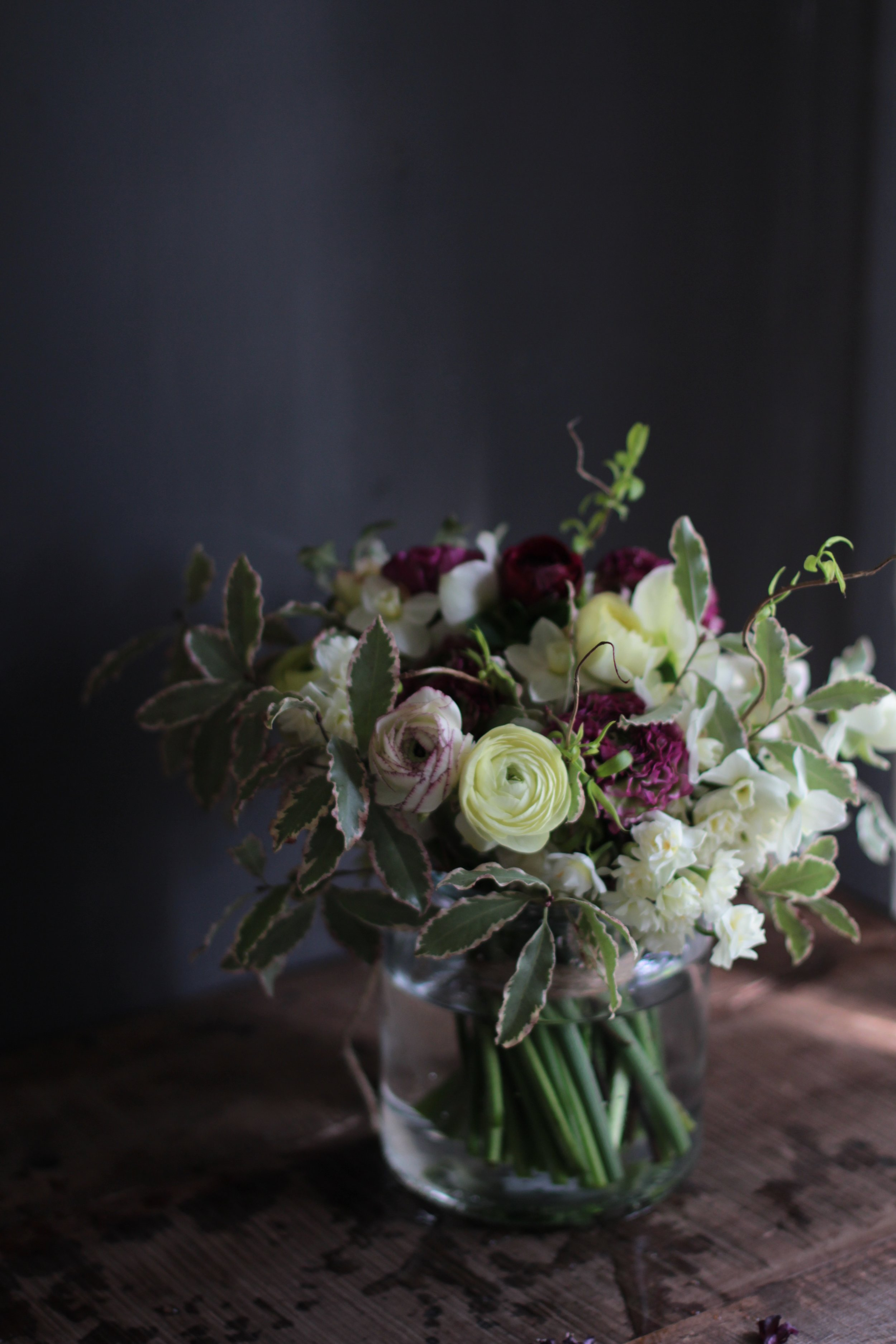 Kent Wedding Flowers a Spring bouquet by Florist Jennifer Pinder yellow purple