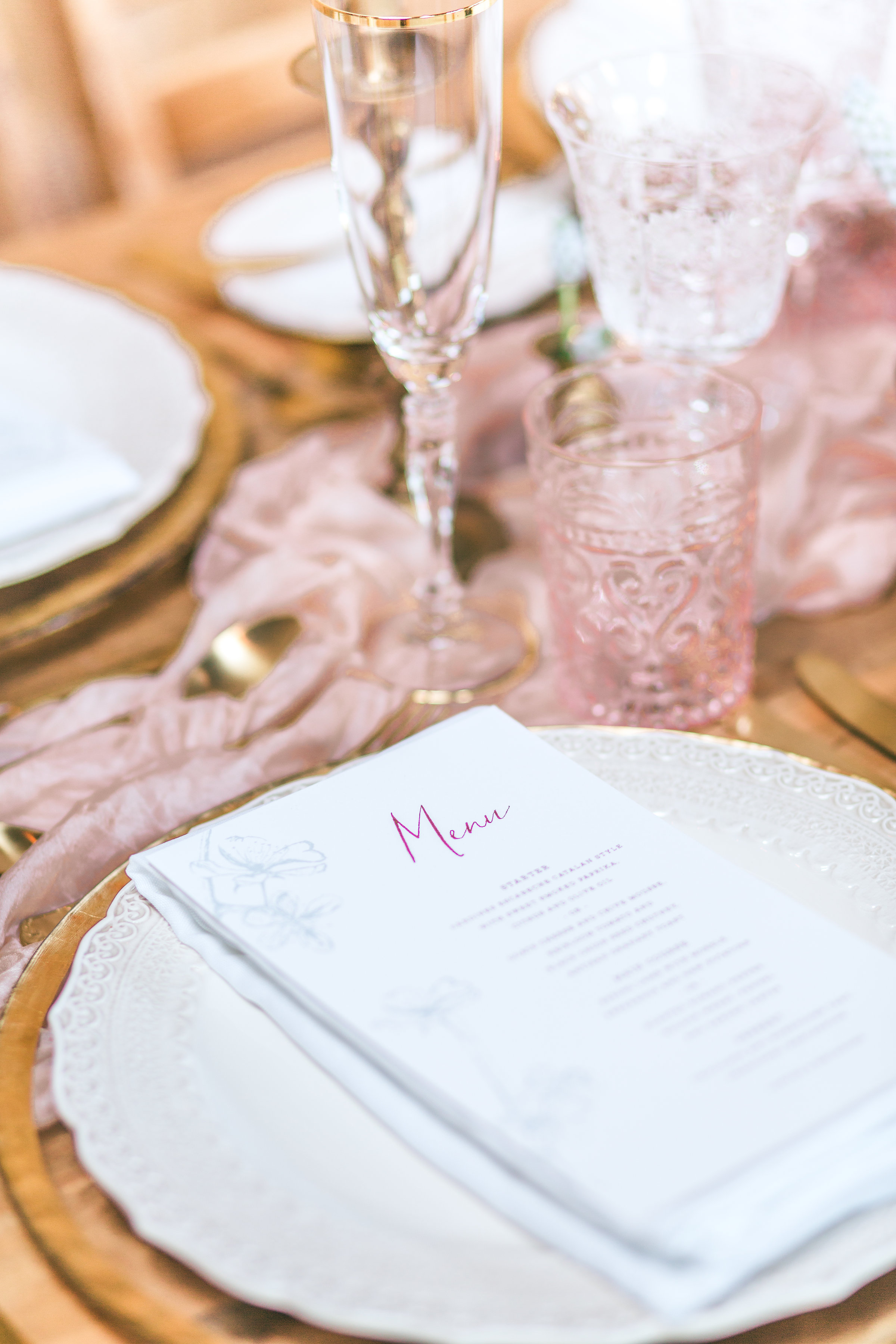 blush pink wedding tablescape and foiled menu. chafford park wedding flowers by Kent florist Jennifer Pinder-49.jpg