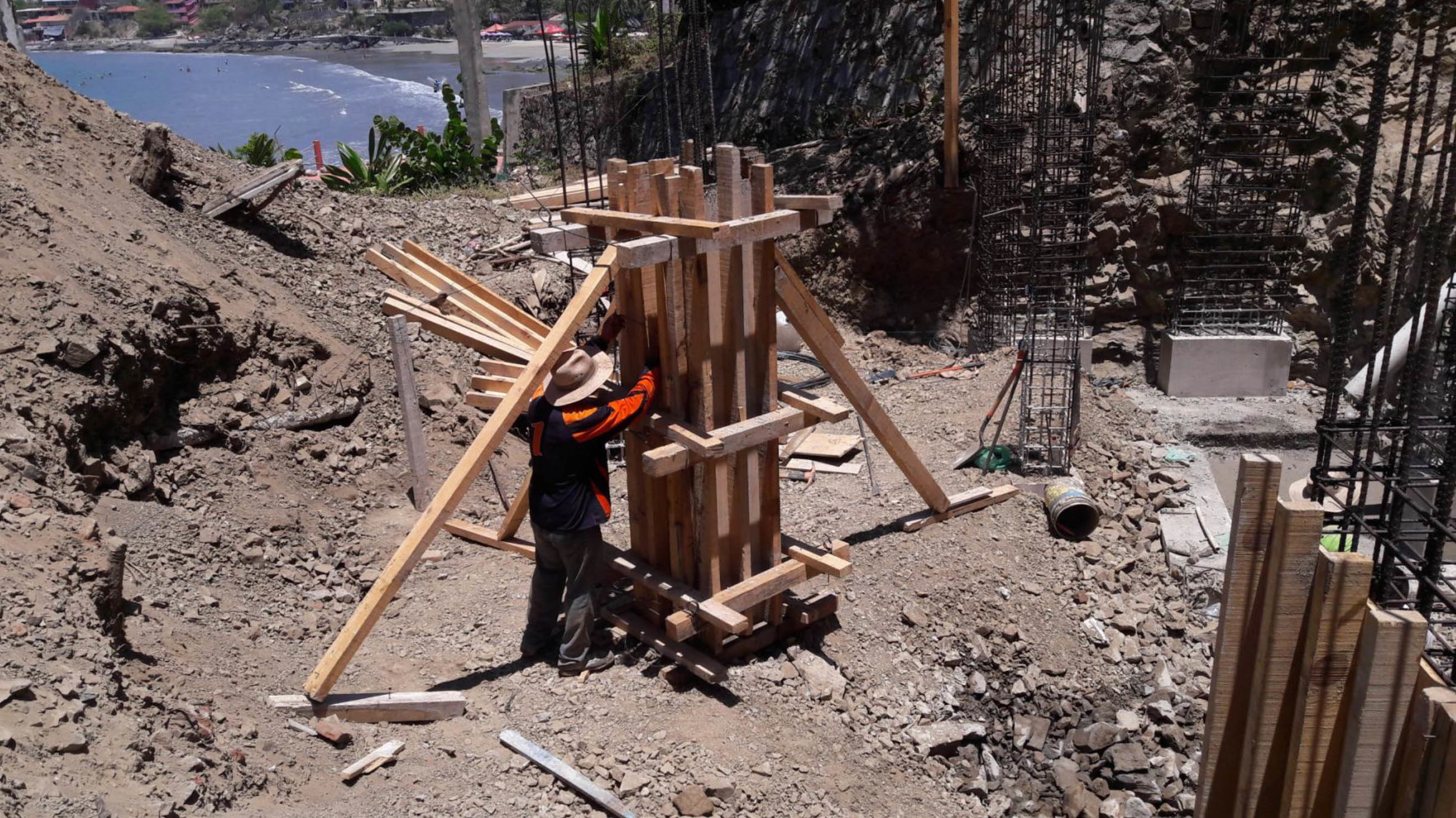 Pouring columns for foundations of Building A