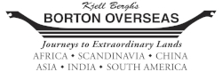 Borton Overseas is a tour operator specializing in creating extraordinary journeys to Africa, Scandinavia, Asia, South America and Antarctica. We have pre-planned itineraries which suit a wide variety of travel styles and budgets which are flexible and can be customized to your clients' wishes. You will work exclusively with a Destination Specialist who will guide you and your clients through all stages of their travel experience, from planning and departure, until their return home. Our standard commission is 10%, and we have override commission based on sales. We offer periodic specials or additional commission through our e-mails.   www.bortonoverseas.com  info@bortonoverseas.comTel:800-843-0602